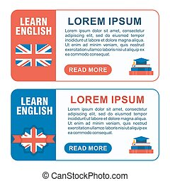 set of learn english baners horizont - Set of learn english...