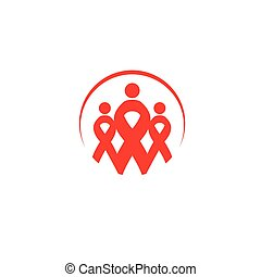 Isolated red ribbons disease awareness. Round shape human silhouettes logo. World Aids Day concept. Stop virus icon. International support campaign for sick people. Vector illustration.
