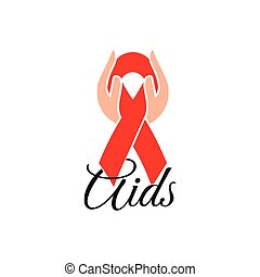 Isolated red ribbon in human hands. Disease awareness. World...