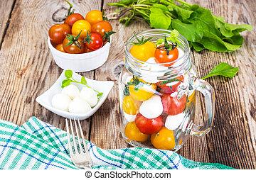 玻璃, 罐子,  caprese, 沙拉