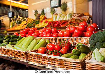 Greengrocery with fresh fruits and vegetables. Organic food....