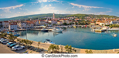 Supetar on Brac island panoramic view of harbor and old...