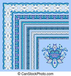 blue floral vintage frame design. vector illustration set