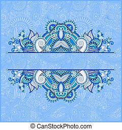 blue invitation card with neat ethnic background, royal...