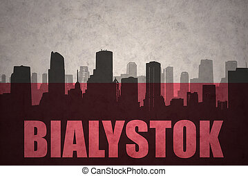 abstract silhouette of the city with text Bialystok at the...