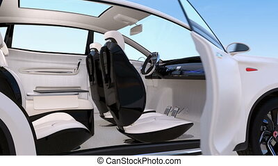 Autonomous car interior design. Concept for new business work style when moving on the road