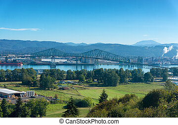 Lewis and Clark Bridge over the Columbia River connecting...
