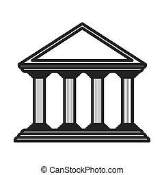 monochrome color of greek temple parthenon vector...