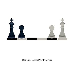 silhouette with kings and pawns chess