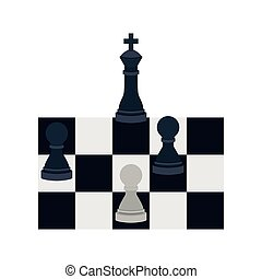 silhouette with king and pawns chess