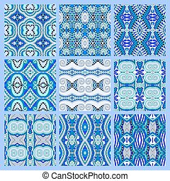 set of blue seamless colored vintage geometric pattern,...