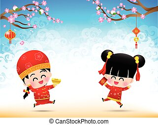 Chinese boy and chinese girl cartoon have smile and jumping with happy  for design and decoration on the white background vector illustration eps10 002