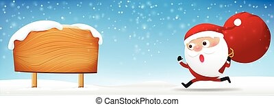 Christmas Santa Claus runing and holding red bag on falling snow background with copy space vector illustration eps10