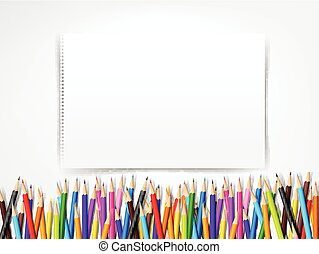 Top view of stationary blank paper and color pencil with copy space on white background vector illustration 003