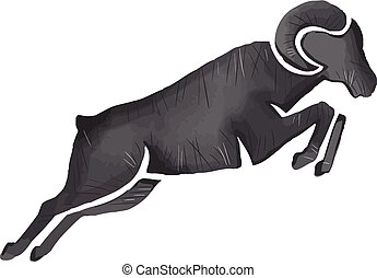 Ram Goat Silhouette Jumping Watercolor - Watercolor style...