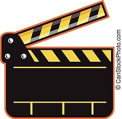 Movie Camera Slate Clapper Board Open Retro - Illustration...