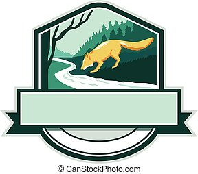 Fox Drinking River Creek Woods Crest Woodcut - Illustration...