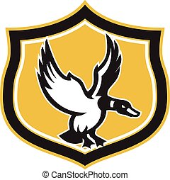 Mallard Duck Wings Landing Crest Retro