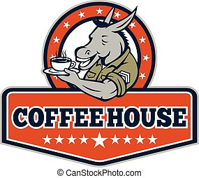 Army Sergeant Donkey Coffee House Cartoon - Illustration of...