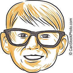 Caucasian Boy Glasses Head Smiling Drawing - Drawing sketch...