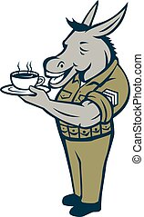 Donkey Sergeant Army Standing Drinking Coffee Cartoon -...