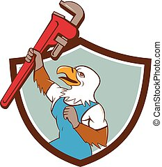 Eagle Plumber Raising Up Pipe Wrench Crest Cartoon -...