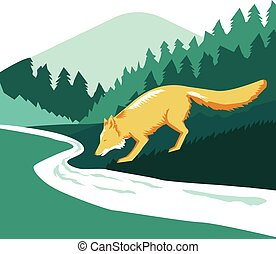 Fox Drinking River Creek Woods Square Retro - Illustration...