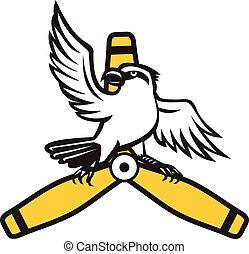 Shrike Perching Propeller Blade Retro - Illustration of a...