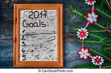 list for the new year 2017 written in a wooden frame