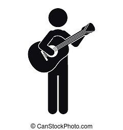 monochrome silhouette of man with guitar vector illustration