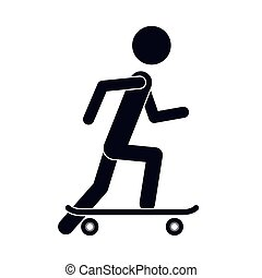 monochrome silhouette of man with skateboard vector...