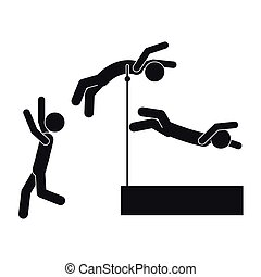 monochrome silhouette pole vault with man in three steps