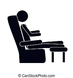 monochrome silhouette with man in comfortable chair