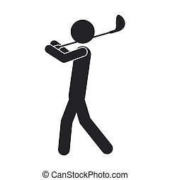 monochrome silhouette of man with golf club
