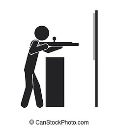 monochrome silhouette with man shooting to target