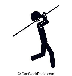 monochrome silhouette with gymnast launch Javelin vector...