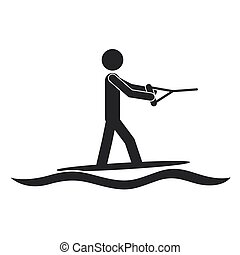 monochrome silhouette with man water skiing vector...