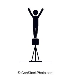 monochrome silhouette of gymnastics in pommel horse vector...