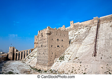 Syria - Aleppo citadel - Famous fortess and citadel in...