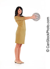 Young Beautiful Woman With A Ball
