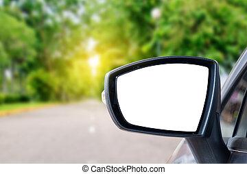 Car mirror - side rear-view mirror on a car.