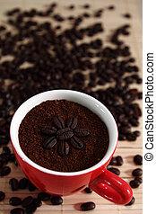 Finely Ground Coffee. - Finely Ground Coffee and coffe bean.
