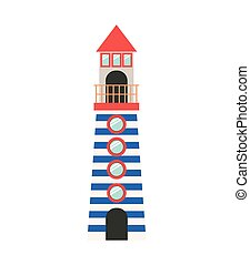 full color with Tower of Lighthouse vector illustration