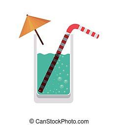 full color with glass cocktail vector illustration