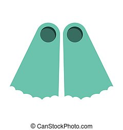 full color with diving fins vector illustration