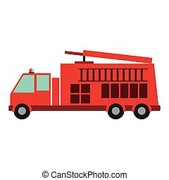 color silhouette with fire truck