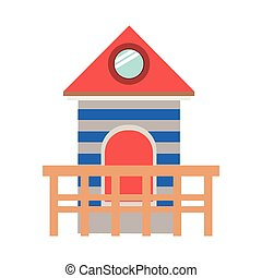 full color with lifeguard stand tower vector illustration
