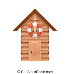 full color with lifeguard stand of wooden vector...