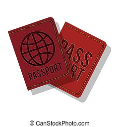 full color with passport with circle label vector...
