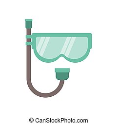 full color with mask of diving and snorkel vector...